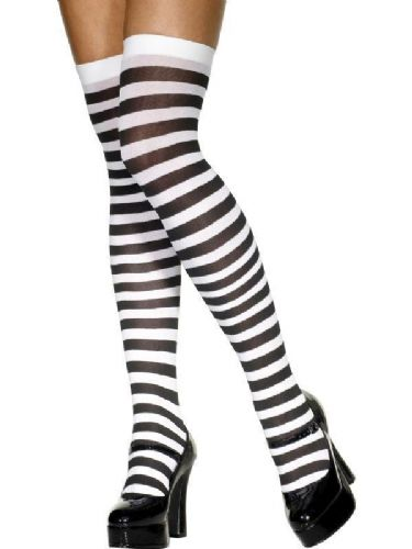 Hold Up Stockings (Smiffys) - Black & White Stripes